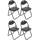 Chaise pliante rembourrée - pour le bureau - entièrement noire - lot de 4