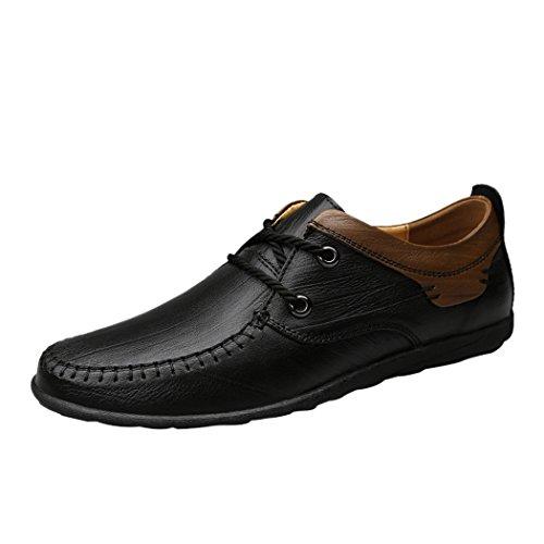 Pik & Clubs Herren Echtes Leder Fashion Casual Einzigartige Personalisierte Trendy 2Öse Slipper Spitze Flache Schuhe, Schwarz - Schwarz - Größe: 42.5