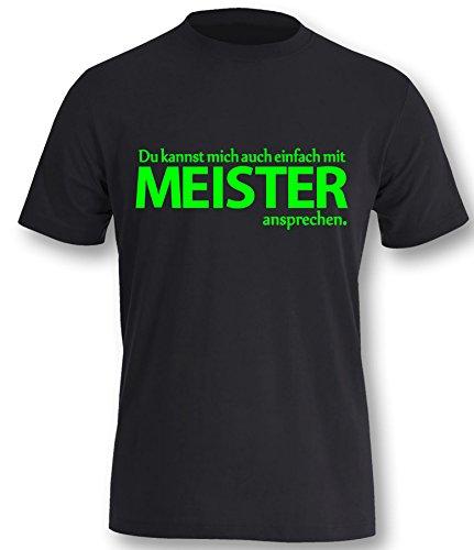 Luckja Du kannst mich auch einfach mit Meister ansprechen Herren T-Shirt Schwarz - Neongrün Größe XL