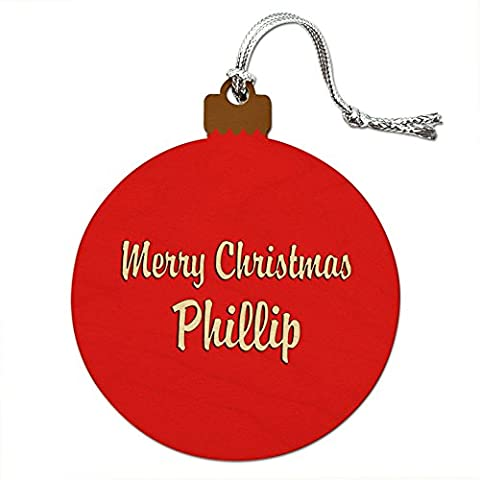 Holz Weihnachtsbaum rot Ornament Namen Stecker pa-pr Phillip
