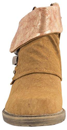Elara Femmes Biker Bottes | Prints boucles métalliques | Rivets bottes aspect cuir - Camel New York