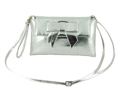 LONI Damen Clutch Abend Hochzeit Tasche mit Schleife in Kunstleder in Weiss Metallic Silber