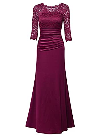 MIUSOL Women's 3/4 Sleeve Evening Party Long Floral Lace Pleated Vintage Maxi Dresses for Women (Sposa Abito Lungo)