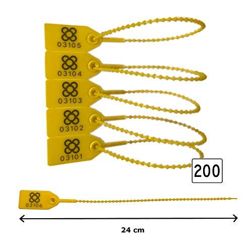 Plomben sicherheits 200 Einheiten | LÄNGE: Siegel nummeriert 24cm | VERSTELLBARE Kunststoffkabelbinder für den logistischen Transport von Gepäckwagen. -