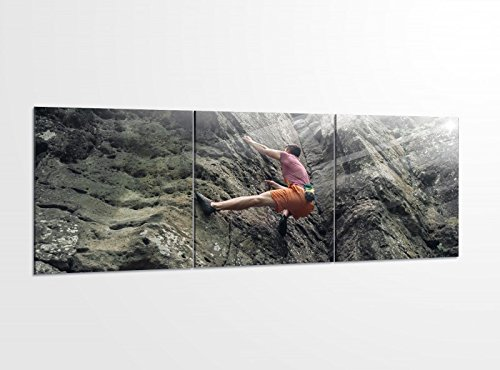 Acrylglasbilder 3 Teilig 150x50cm Freeclimbing Felsen Klettern Extrem Druck Acrylbild Acrylbilder Bilder Acrylglas 14?5888, Acrylglas Größe 6:BxH Gesamt 150cmx50cm