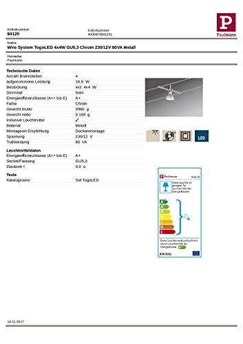 Paulmann Mac LED Seilsystem, Deckenstrahler 4-flammig Komplettset, eckige Deckenleuchte – ideal als Bürobeleuchtung & Küchenbeleuchtung, Farbe: Chrom Matt - 3