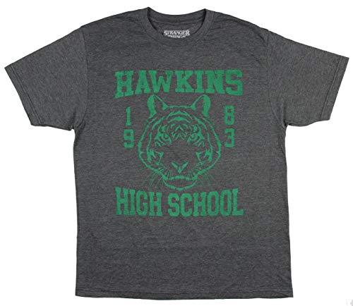 Skript-logo-jugend-t-shirt (Stranger Things Shirt Hawkins High School TV-Serie Herren T-Shirt - Grau - X-Klein)