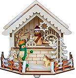 yanka-style Leuchter Weihnachtsmarktstand Händler mit LED - Beleuchtung aus Holz ca. 15 x 14 x 13 cm Weihnachten Advent Geschenk Dekoration (93230s)