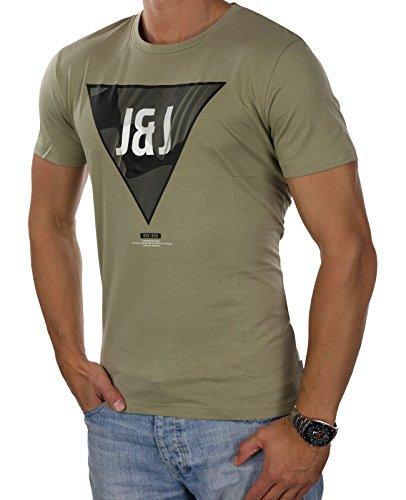 JACK & JONES Herren T-Shirt jcoEMILIO jcoVISION Print Rundhals Mehrfarbig Slim Fit und Oversize Oliv (Silver Sage Fit:REG jcoVISION)