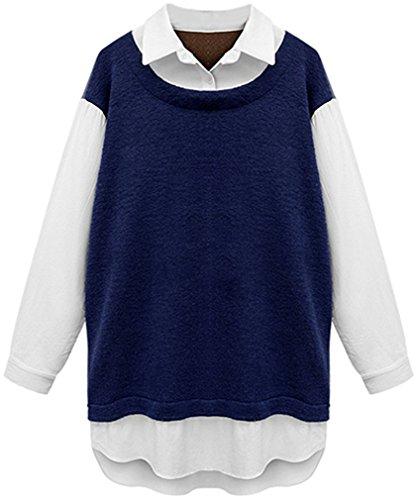ADS -  Maglia a manica lunga  -  Vestito modellante  - Basic - Collo a U  - Maniche lunghe  - Donna blu navy