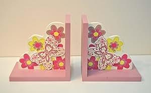 Chambre d'enfant Papillon Rose Serre-livres en bois pour chambre d'enfant