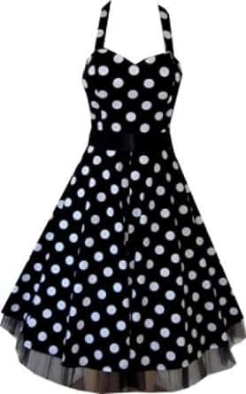 Pretty Kitty Fashion 50s Large Polka Dot Black Rockabilly Swing Prom Pin-Up Dress (4xl = uk22)