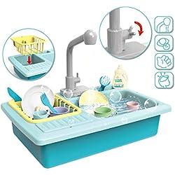 deAO Evier de Cuisine Jeu de Rôles avec Simulateur d'Eau Électrique et Accessoires - Bleu