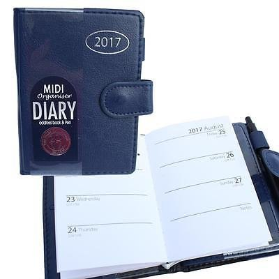 2017 Pocket Personal Midi Organiser Week To View Diary With Address Book And Pen - Black/ Navy Blue 2075