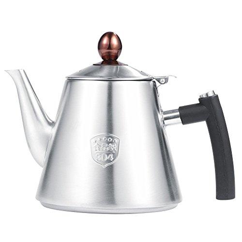 Teekanne mit Fassungsvermögen 1.2 l Edelstahl Herd Teekanne Tee Kaffeekanne Wasserkocher hitzebeständig Schnell Kochendes Silikon Griff Matt