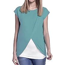 STRIR Camiseta de Mujer Maternidad de Doble Capa, premamá Lactancia Blusa de Manga Corta Blusa