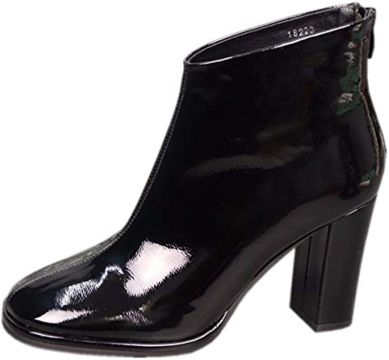 KPHY Chaussures Femmes/Surface Molle Laque De Cuir des Bottes De La Côté La De Hauteur du Talon À Tête Carrée Épaisse... 5cee6f