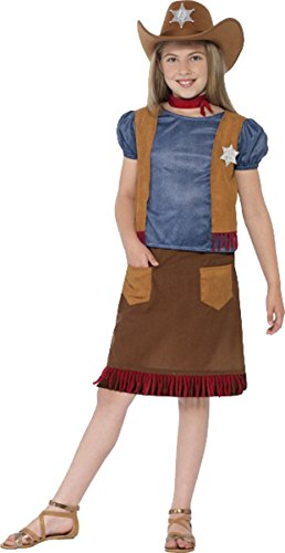 Belle Smiffys Kostüm - Kinder Fancy Dress Party Buch Woche Western Belle Kuh rancy Mädchen Kostüm Outfit, Braun