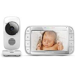 """Motorola MBP 48 - Babyphone vidéo avec grand écran 5.0"""", éco mode, vision nocturne et capteur de la température ambiante, couleur blanc"""