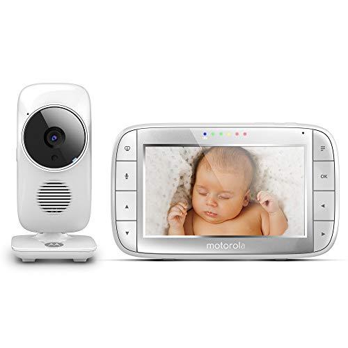 Motorola MBP 48 Video-Babyphone, 5,0 Zoll Farbdisplay, Nachtsicht, 2-Wege-Audio und Temperatursensor, 300m Reichweite
