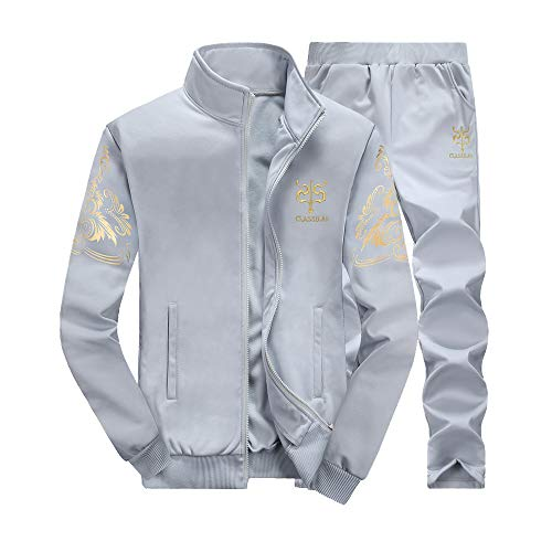 LoveLeiter MäNner Herbst Winter Verdicken Sweatshirt Top Hosen Sets Sport Anzug Trainingsanzug Herren Academy Tracksuit Jogginganzug Man Sportanzug Freizeitanzug Hausanzug(Grau,M)