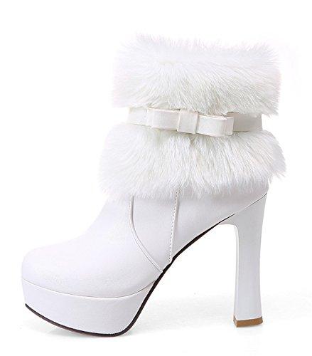 YE Damen Winter High Heels Plateau Warme Stiefeletten mit Roter Sohle Schleife Blockabsatz wasserdicht Schneestiefel Schuhe Weiß