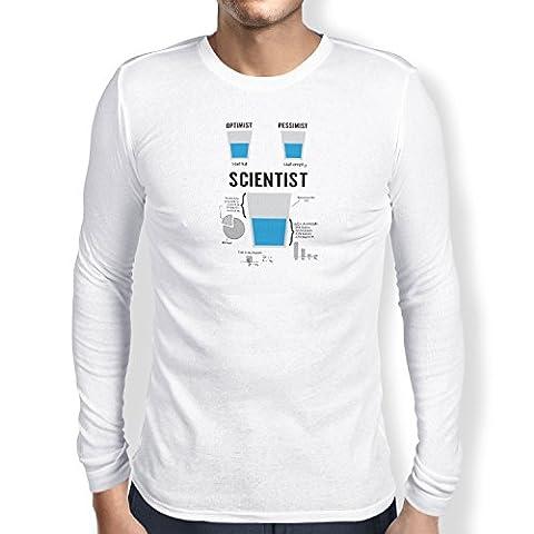 NERDO - Optimist Pessimist Scientist - Herren Langarm T-Shirt, Größe XL, weiß (Herren Volles Logo T-shirt)