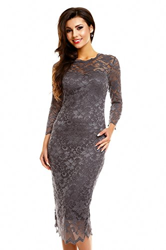 Damen Cocktailkleid Abendkleid Etuikleid aus Spitze Deluxe Look Grau