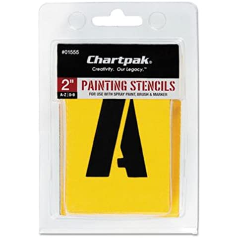 Painting Stencil Set, A-Z Set/0-9, Manila, 35/Set, Sold as 35 Each by Chartpak