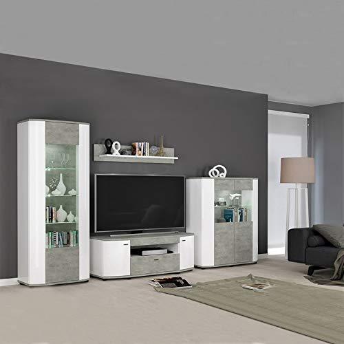 Bradford Wohnzimmer (Froschkönig24 Bradford 2 Wohnwand Anbau Wohnzimmer 4-teilig Hochglanz Weiß/Betonoptik)