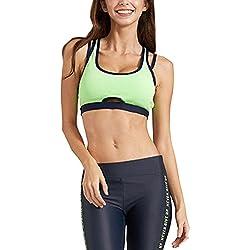 Mujeres Acolchado Bra Top Atlético Chaleco Gym Fitness Stretch Sports Yoga Verde XS