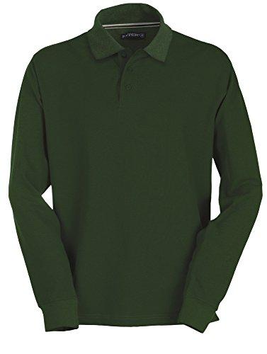Pique Langarm Polo-shirt (Herren Langarm Polohemd Baumwoll Piquet Hockey green XL)
