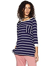 Symbol Amazon Brand Women's Striper Oversized T-Shirt with Pocket Details