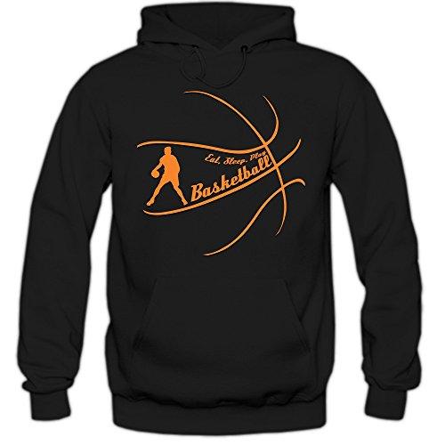 Shirt Happenz EatSleepPlay #1 Hoodie |Basketball Hoodies | Team | USA | Kapuzenpullover, Farbe:Schwarz (Black F421);Größe:XXL