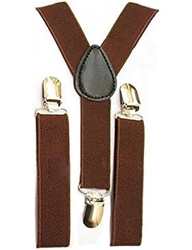 TOOGOO Bambini delle ragazze dei ragazzi di Y-back bretella elastica regolabile Clip-On Bretelle caffe'