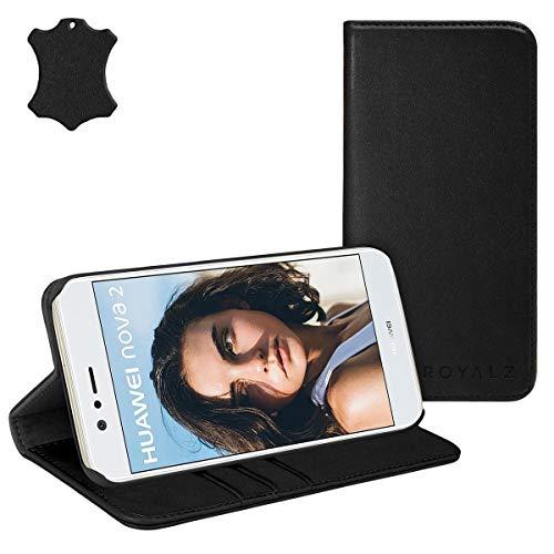 eFabrik ROYALZ Schutzhülle für Huawei Nova 2 Ledertasche Lederhülle Hülle Book Cover Case Tasche Leder Schutztasche Vintage mit unsichtbaren Magnet, Farbe:Schwarz