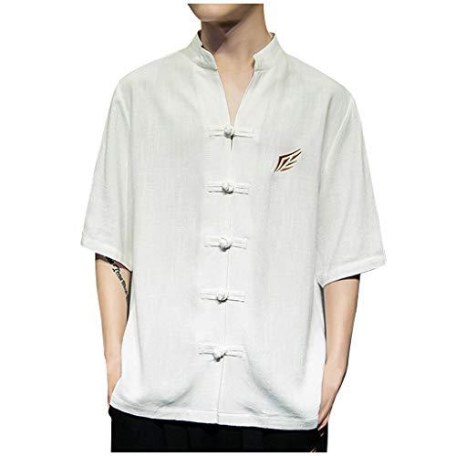 Luckycat Herren Hemd Leinen V-Ausschnitt Kurzarm Button Leinenhemd Sommer Regular Fit Freizeithemd Casual T-Shirt Herren Kurzarm Leinen Hemd Henley Kurzarm Hemd T-Shirt Freizeit Hemden Sommer Hemd -