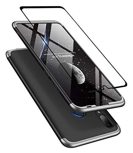 JOYTAG Kompatibel Huawei P30 Lite/Nova 4e Hülle + Hartglas Glasfilm Schutzfolie 360 Grad Argent Noir Ultra dünn Alles inklusive Schutz 3 in 1 PC Telefon Cover case-Argent Noir
