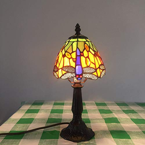 SXFYWYM Tischlampe Tiffany Creative Art Retro Glasmalerei für Schlafzimmer Wohnzimmer Nachtlicht,Yellow,14x36cm