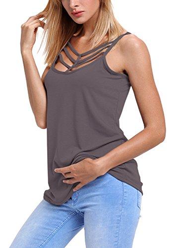 Aleumdr Damen Tank Top Sexy tief U-Ausschnitt mit Vorne Schnürung ärmellosen Bluse Shirt Top T-Shirt Grau X-Large