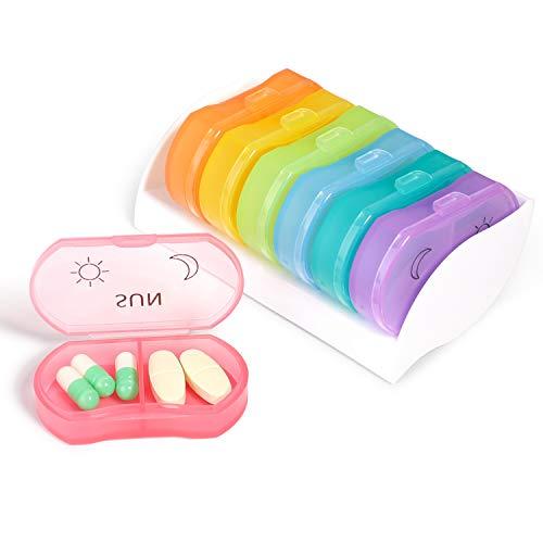 Opret Tablettenbox 7 Tage 2 Fächer Morgens Abends, Kleine Pillendose für eine Woche