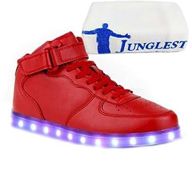 [Present:kleines Handtuch]Weiß 35 EU Farbe LED weise Sneaker Leuchtend Aufladen Hoch Unisex Turnschuhe JUNGLEST Herren 7 High-top Sport Fa gUXk20FXl0
