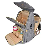 Qimiaobaby Diaper Bag Backpack Multifunction Travel Back Pack Maternity Baby Nappy Changing Bags Large Capacity, Stylish and Durable Grey QM1822