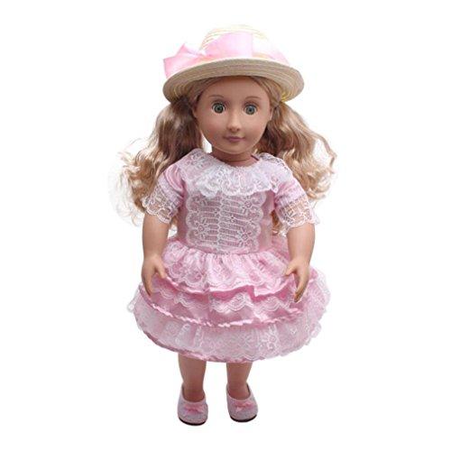 LILICATKostüme Puppe Kleidung Kleid Haarband für 18 Zoll American Girl Puppe Zubehör Kawaii Spielzeug (Rosa)