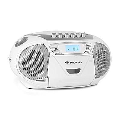 Auna KrissKross - Poste radio cassette portable avec lecteur CD, deck K7 enregistreur, port USB pour lecture MP3 (tuner FM, poignee pratique) par Auna