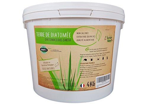L'Herbe Haute  Terre de diatomée Alimentaire Blanche -4KG- Utilisable en Agriculture Biologique - Haute pureté sans Traitement...