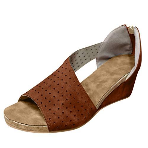 COZOCO Damenmode Wedges Schuhe Flacher Mund Peep Toe Sandalen Casual Strandschuhe Römersandalen(braun,40 EU)