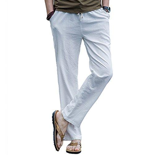 donhobo Herren Hosen Leinen mit Seitentaschen Lässige Hose Loose Freizeithose(Weiß,XL)