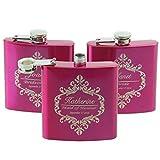 Zoomy far Zoomy weit: Braut oder Brautjungfern-Geschenk für Hochzeit -Personalized Flachmann 6 Unzen mit Weiß oder Schwarz-Box, Damen Geschenk: hot pink