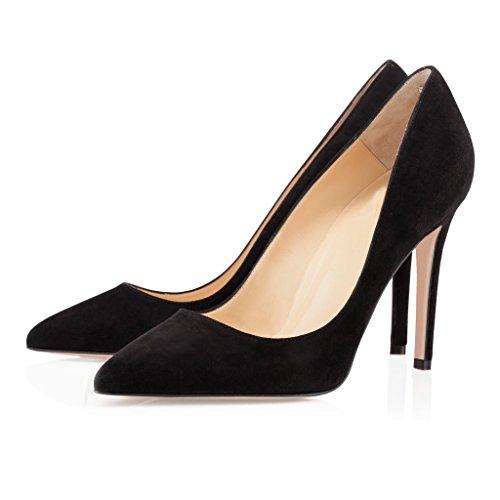EDEFS - Escarpins Femme - Stilettos Chaussures - Talon aiguille - Bout Pointu Fermé - Bureau Soiree Mariage Pumps Suede